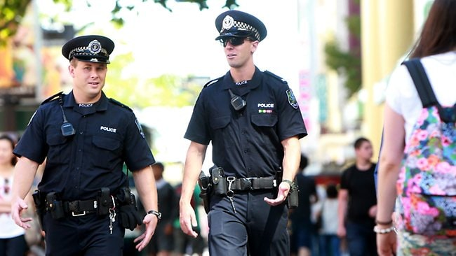 Police officers walk the beat in Rundle Mall. Picture: Calum Robertson