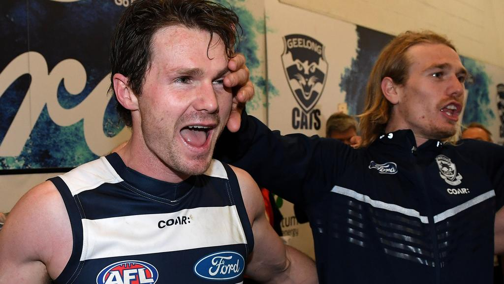 Patrick Dangerfield celebrates Geelong's win over Sydney in the rooms. Picture: AAP