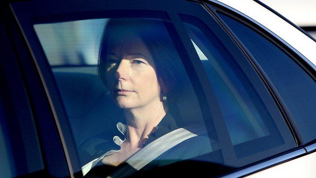 Prime Minister Julia Gillard leaving Adelaide Airport. Picture: Calum Robertson