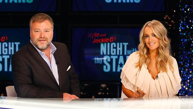 Kyle Sandilands and Jackie Henderson on the set of Kyle and Jackie O's Night with the Stars during the live filming of their TV special. Picture by Glen McCurtayne.