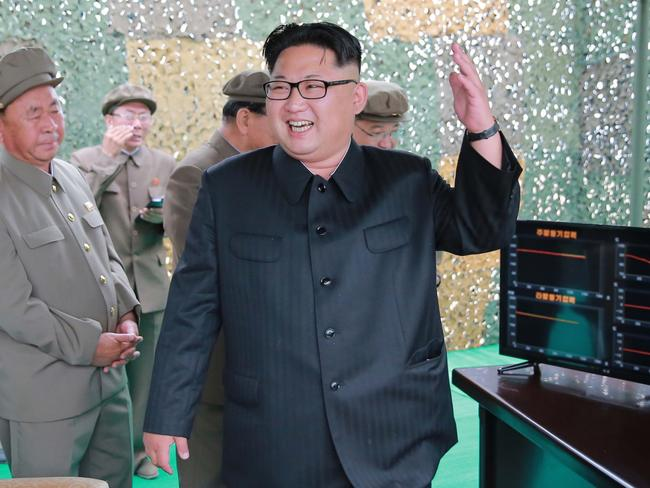 North Korean leader Kim Jong-Un inspecting a test of the surface-to-surface medium long-range strategic ballistic missile Hwasong-10 at an undisclosed location in North Korea. Picture: AFP