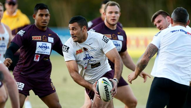 Justin Hodges at Brisbane Broncos training. Pic Darren England.