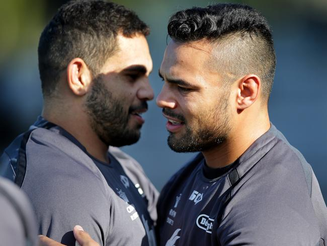 Ben Te'o and Greg Inglis during a training session at Redfern Oval.