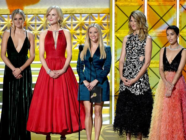 Big Little Lies' power cast Shailene Woodley, Nicole Kidman, Reese Witherspoon, Laura Dern, and Zoe Kravitz presented the first award of the night.