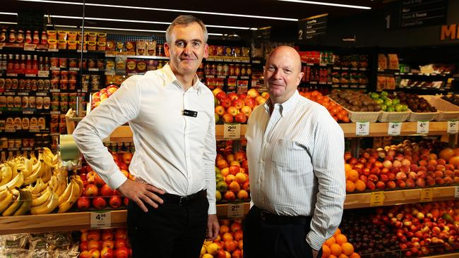 Woolworths CEO Brad Banducci with Chairman Gordon Cairns. Picture: Brett Costello