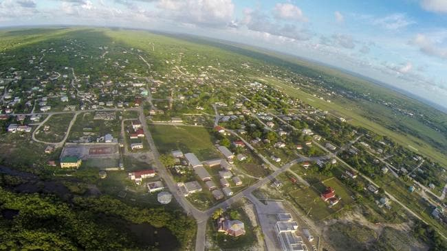 An aerial view of Codrington, Barbuda's only town, before the devastation of Hurricane Irma.