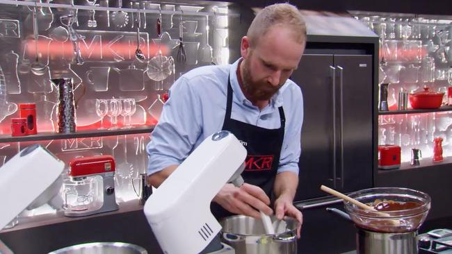 Tim Attiwill prepares his much-praises mousse for the dessert challenge. Picture: Seven