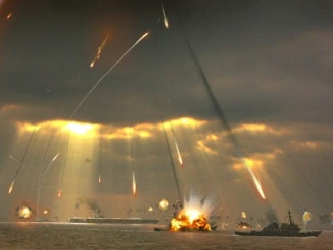 A Chinese state-media image representing its anti-ship Ballistic Missiles in action.