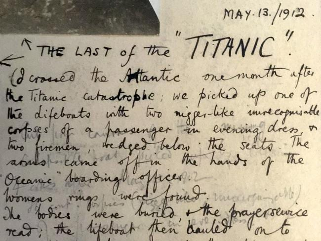 A portion of an account penned by a passenger on board RMS Oceanic. Picture: Haldridge/BNPS