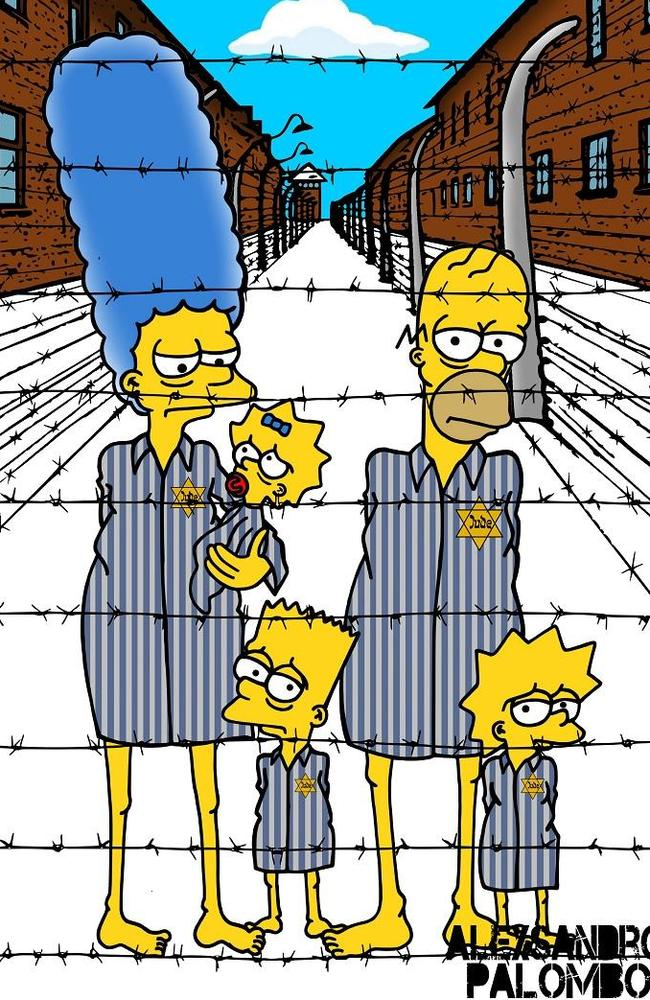 Suffering ... Palombo sketched Homer, Marge, Bart, Lisa and Maggie inside a concentration camp looking emaciated. Picture: aleXsandro Palombo