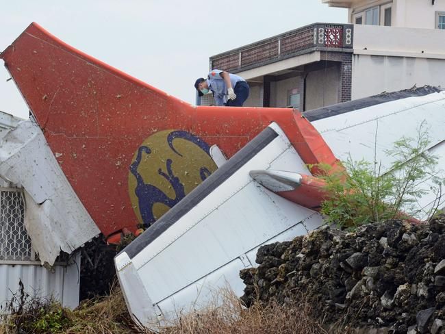 The tail section of TransAsia Airways flight GE222.