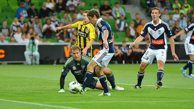 Melbourne Victory's Marco Rojas goal in the second half with a simple tap in beating Mark Paston. Picture: George Salpigtidis