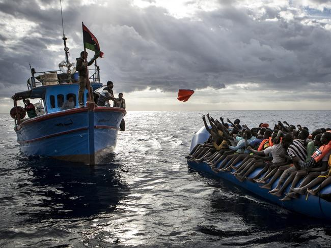 African migrants waiting to be rescued by Libyan fishermen. Picture: Mathieu Willcocks/MOAS.
