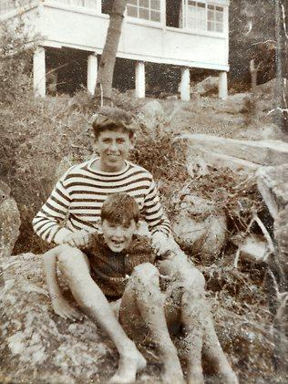 Damien 15 and Shane 8 Kavanagh outside their hut in the 60s. Picture: Lange Martin