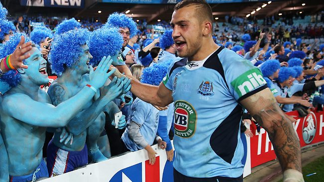 Blake Ferguson laps up victory in Origin I this year. Picture: Philip Hillyard