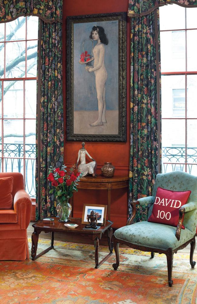 """David Rockefeller's collection broke records for the most valuable set of artworks ever sold at auction. Pictured, Pablo Picasso's """"Young Girl with a Flower Basket"""" hanging in the library of the late oil heir's Manhattan townhouse. Picture: Christie's Images Ltd. 2018 via AP"""