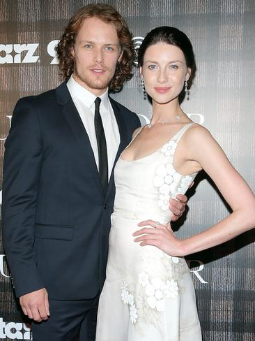 Sam Heughan and Caitriona Balfe star in Outlander. Picture: Getty
