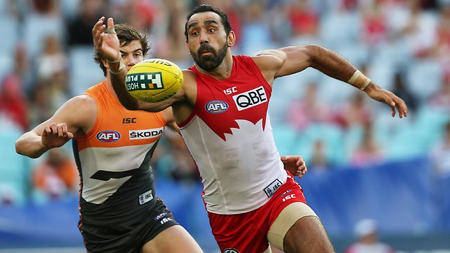 Sydney star Adam Goodes leads to the ball. Picture: Phil Hillyard