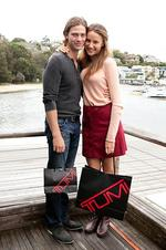 Michael Miziner and Rachael Finch among the celebrities to attend a free shopping fest put on by luxury luggage label Tumi, at the Pier restaurant in Rose Bay, Sydney.