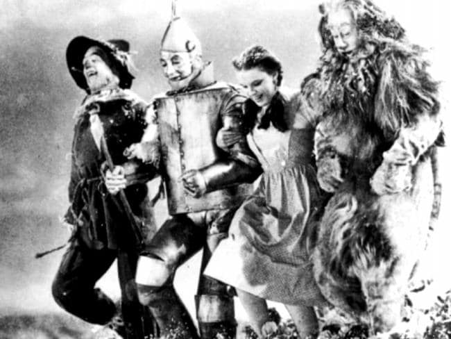 "Scarecrow (actor Ray Bolger), Tinman (Jack Haley), Dorothy (Judy Garland) & Cowardly Lion (Bert Lahr) from 1939 film, ""The Wizard of Oz"". Films"