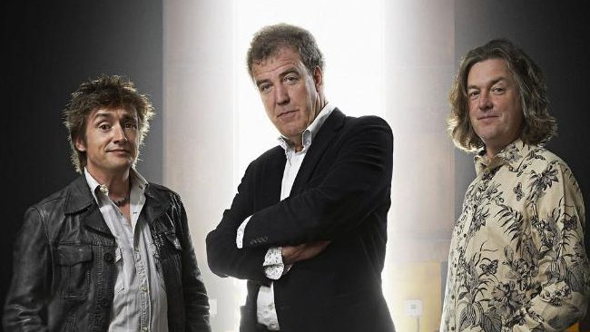 Jeremy Clarkson, centre, with Richard Hammond and James May from TV show 'Top Gear'.