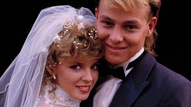 Kylie Minogue as Charlene and Jason Donovan as Scott on their Neighbours wedding day.