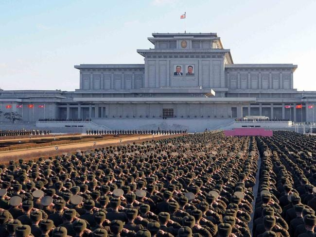 Service personnel from the Korean People's Army pay tribute to Generalissimos Kim Il-sung and Kim Jong-il ahead of the dead leader's birthday.