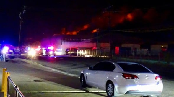 Fire rips through the Bishop St warehouse overnight