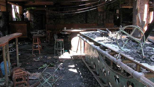 The devastation in Paddy's Pub after the suicide bomb attack. Picture: HWT library