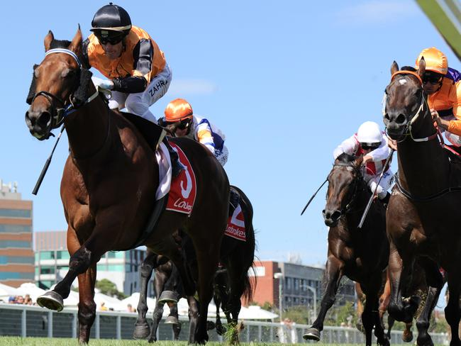 Legless Veuve takes out the Manfred Stakes at Caulfield earlier this month. Picture: Getty Images