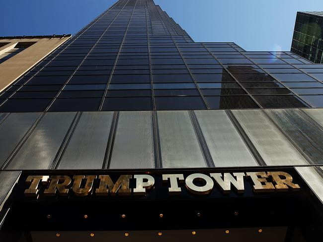 Police have a round the clock presence at Trump Tower in Manhattan due to the number of protests and threats against him. Picture: Spencer Platt/Getty Images/AFP.