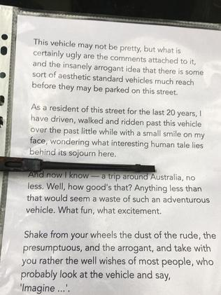 A local jumps to the defence of the campervan owners. Picture: Dannielle Miller