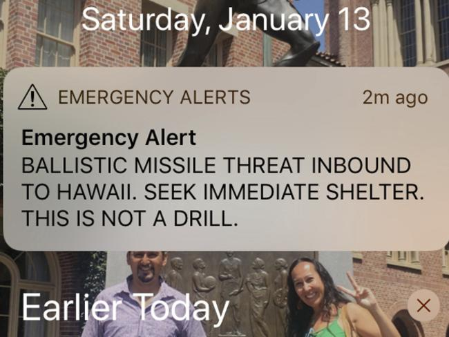 This smartphone screen capture shows a false incoming ballistic missile emergency alert sent from the Hawaii Emergency Management Agency system on Saturday. Picture: AP Photo/Jennifer Kelleher