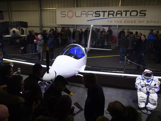 The solar-powered plane SolarStratos of Swiss adventurer Raphael Domjanis pictured during the roll out ceremony. Picture: Laurent Gillieron
