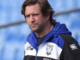 **FILE** A Wednesday, September 7, 2016 image reissued Tuesday, September 19, 2017 of Canterbury-Bankstown Bulldogs NRL coach Des Hasler during a training session in Sydney. Canterbury have sacked coach Des Hasler from the NRL club. Hasler signed a two-year contract extension with the club in April, but failed to take the team to the finals for the first time since his arrival in 2012. (AAP Image/Paul Miller) NO ARCHIVING