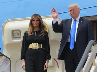 Donald and Melania Trump step off Air Force One in Riyadh. Picture: AFP