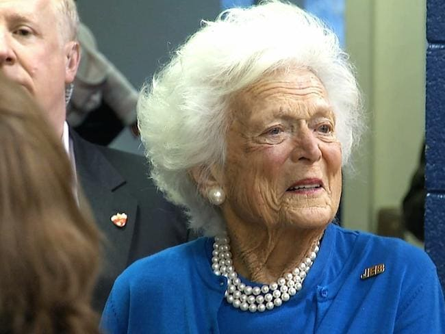 Staunch supporter ... Former first lady Barbara Bush, the mother of Republican presidential candidate Jeb Bush, stands outside a polling location in South Carolina. Picture: AP Photo/Alex Sanz