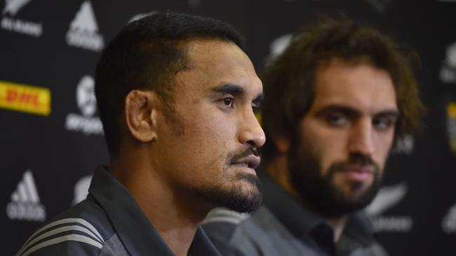 All Blacks Jerome Kaino and Sam Whitelock take part in a press conference in Auckland.