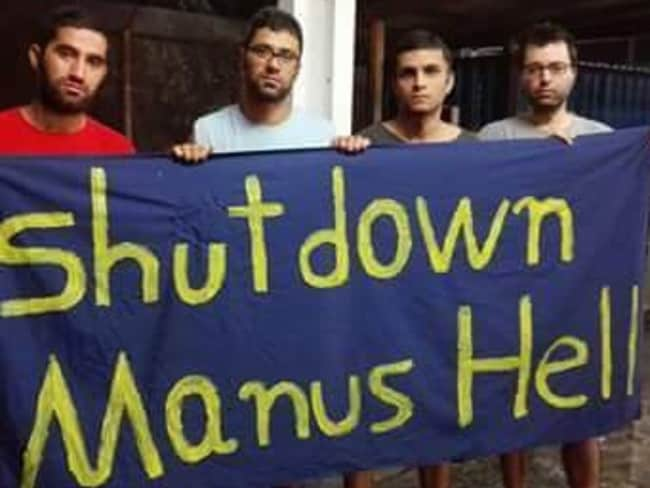 Asylum seekers protest inside the detention centre on Manus Island. Picture: Supplied