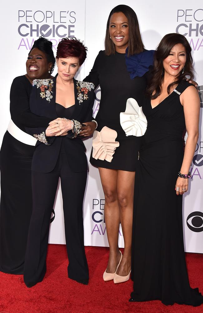 Sheryl Underwood, Sharon Osbourne, Aisha Tyler, and Julie Chen arrive at the People's Choice Awards 2016. Picture: Jordan Strauss/Invision/AP