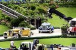 Leonardo DiCaprio driving the blue car, Great Gatsby film being filmed at White Bay power station. Picture: Craig Greenhill