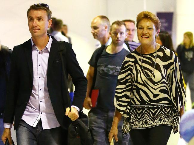 Pauline Hanson and adviser James Ashby. Picture: Liam Kidston.