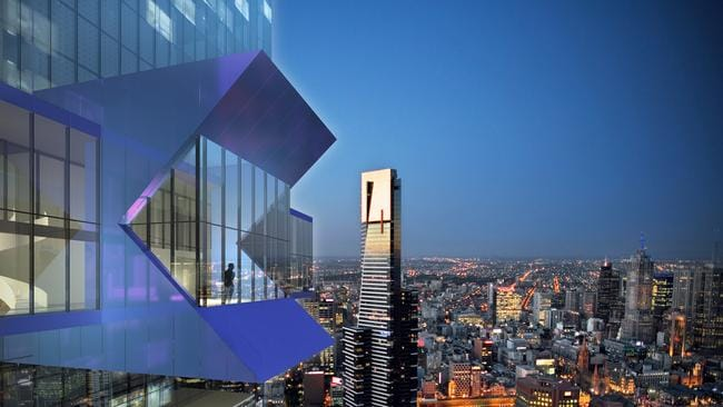 The view from Australia 108 at level 83-84 Sky Lobby. Picture: John Gollings. Designed by Fender Katsalidis Architects.