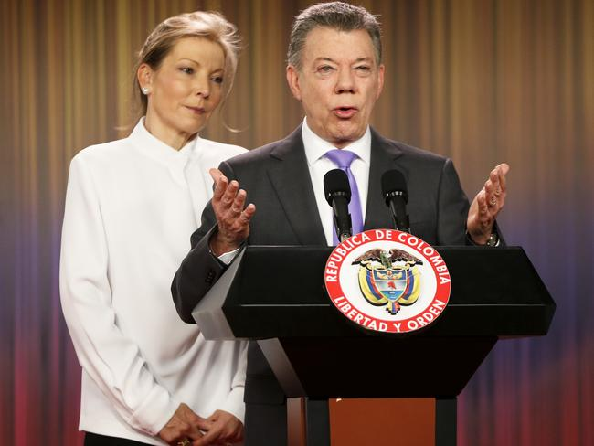 Colombia's President Juan Manuel Santos, who has been awarded the Nobel Peace Prize, with his wife Maria Clemencia Rodriguez. Picture: AP Photo/Fernando Vergara