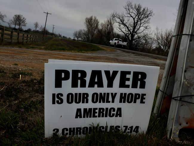 The typical sign you'll see on the side of the road in conservative American towns. Picture: Michael S.Williamson/The Washington Post via Getty Images
