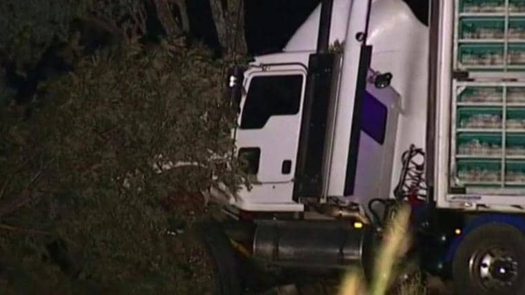 The semi-trailer involvevd in the crash. Pic: Nine News Brisbane