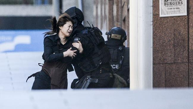 Sixteen of the 18 Lindt Cafe hostages escaped or survived until the police brought the standoff to an end and two innocent people were killed. Picture: Chris McKeen
