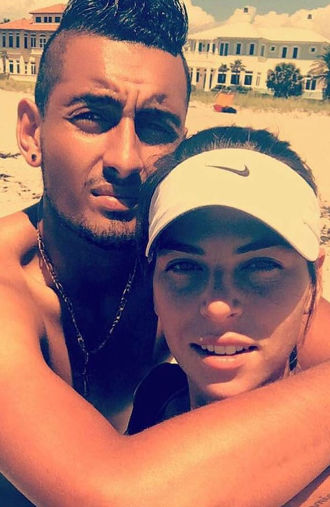 Nick and Ajla in loved-up beach mode. Picture: Instagram