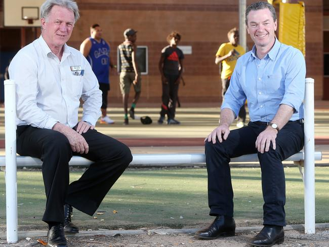 Education Minister Christopher Pyne visits Principal Roger Ashcroft at Yirara College boarding school in Alice Springs earlier this month. Picture: Calum Robertson