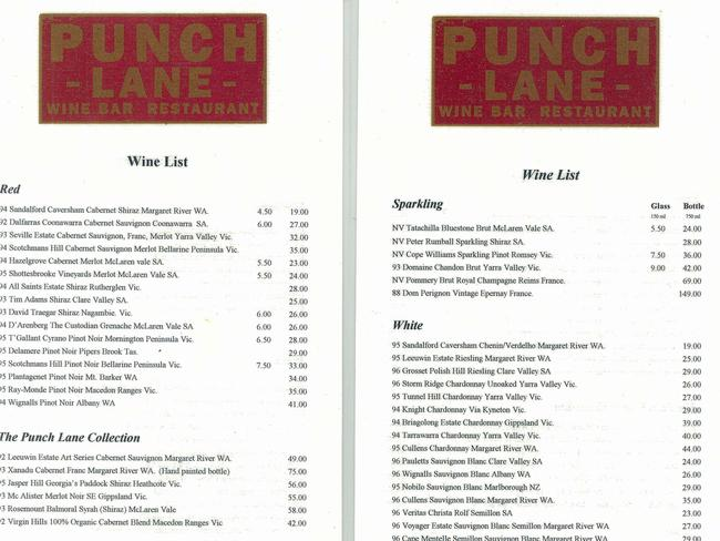 Punch Lane's wine list from 2000.